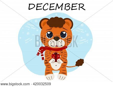 Vector Illustration Of A Tiger Cub In December With A Red Gift Box And Snowflakes. Winter