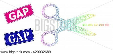 Spectral Colored Mesh Scissors Line, And Gap Scratched Framed Rectangle Stamp Seals. Pink And Blue R