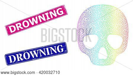 Spectrum Gradient Net Skull, And Drowning Scratched Framed Rectangle Stamp Seals. Pink And Blue Rect