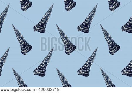 Seamless Pattern With Hand Drawn Pencil Illustration Of Seashells