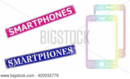 Spectrum Colorful Net Smartphones, And Smartphones Grunge Framed Rectangle Stamp Seals. Pink And Blu