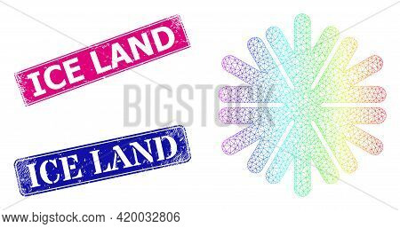 Rainbow Colored Mesh Snowflake, And Ice Land Dirty Framed Rectangle Seal Prints. Pink And Blue Recta