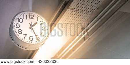 The Public Indoor Clock In Terminal Airport, Clock Shows Time For Passengers Or Commuters, For Rush