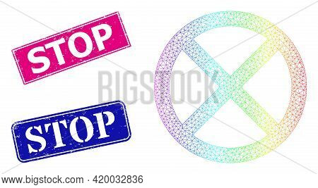 Rainbow Colored Network Stop, And Stop Dirty Framed Rectangle Watermarks. Pink And Blue Rectangle Ba