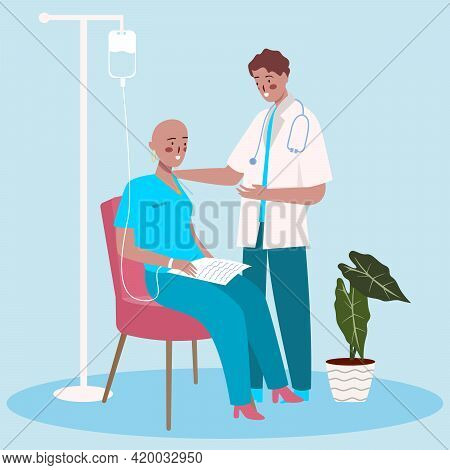 Cancer Therapy Concept Doctor Give Advice Support Motivation Woman Patient With Cartoon Flat Style