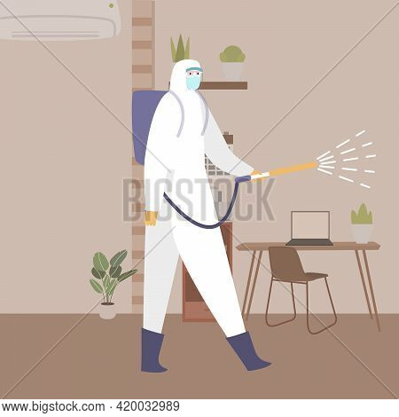 Disinfect Office Concept Men Wearing Hazmat Spraying Disinfectant Around Working Space With Cartoon