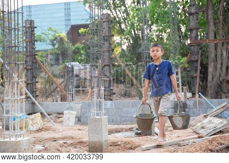 Poor Children Are Forced To Work Construction, Violence Children And Trafficking Concept,anti-child
