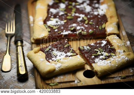 Homemade Galette With Jam And Seeds. Delicious Pastries.
