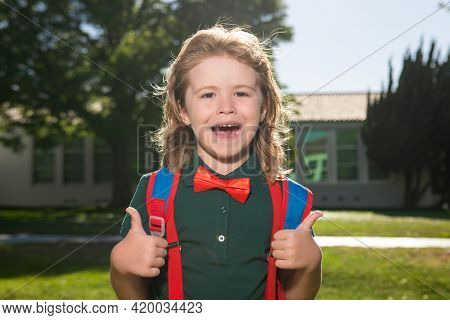 Cheerful Little School Boy In School Uniform With Big Backpack Standing Near School. Back To School.