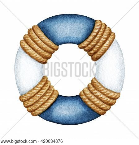 Watercolor Blue White Life Buoy, Safety Ring With Rope. Nautical Vessel Part, Rescue Equipment. Hand