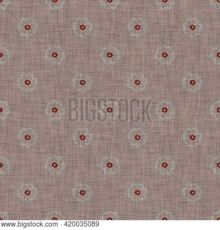 Seamless French Floral Farmhouse Woven Linen Texture. Two Tone Neutral Shabby Chic Pattern Backgroun