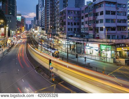 Hong Kong, China - May 01, 2021 : Busy Traffic In Downtown Yuen Long In Hong Kong, China. It Is One