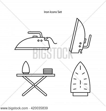Ironing Icons Set Isolated On White Background From Stay At Home Collection. Ironing Icon Thin Line