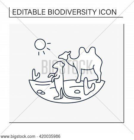 Desert Line Icon. Camel And Suricat On Desert Landscape. Cactus, Sun, Summer. Wild Nature, Animals.