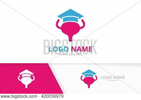 Vector Bladder And Graduate Hat Logo Combination. Urinary Tract Logotype Design Template.