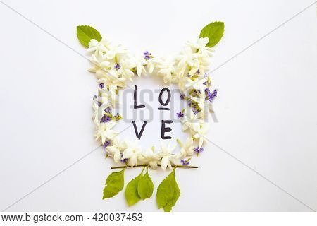 Love Message Card Handwriting With Jasmine ,purple Flowers Arrangement Flat Lay Head Animal Postcard