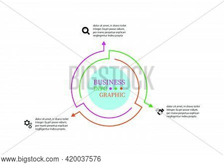 Thin Line Elements Infographic Design With Arrows Presents Three Options. Infographics Vector Illust