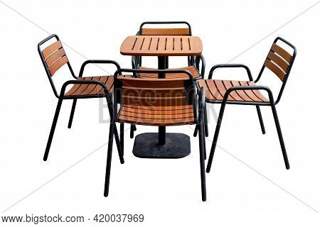 Chair And Table Set, Outside. Wooden Garden Furniture, Modern Table And Chairs On Tile Pavement Floo