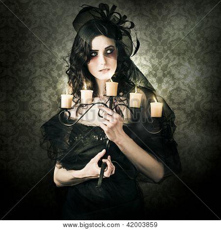 Beautiful Grunge Woman In Dark Vogue Fashion Style