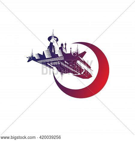 Space Ship Logo. Science Fiction Vector Illustration