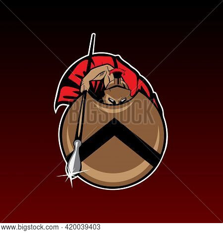 Spartan Warrior Emblem In Defense Position From Thermopylae History. Can Be Used For Tshirt Printing