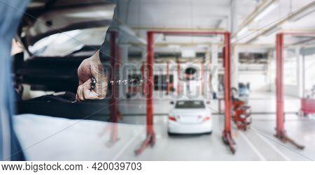 Car Auto Service And Vehicle Maintenance Workshop Center, Automobile Garage Shop And Spare Part Chan