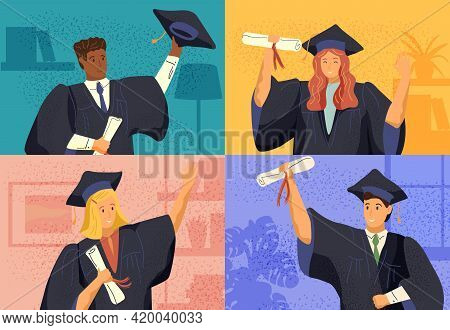 Virtual Online Graduation Ceremony Concept Vector Illustration. Students Graduate By Video Call Duri