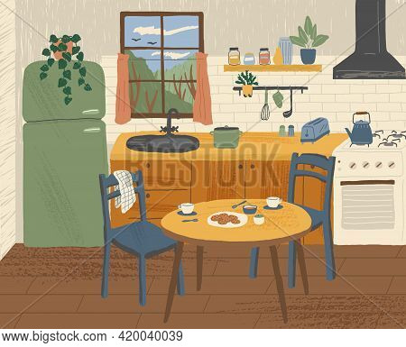 Modern Kitchen Interior Hand Drawn Vector Illustration. Cooking Area With Dining Table In Scandinavi