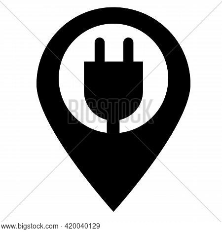 Electric Car Charge Station Map Pin Icon On White Background. Electric Charger Pointer Sign.electric