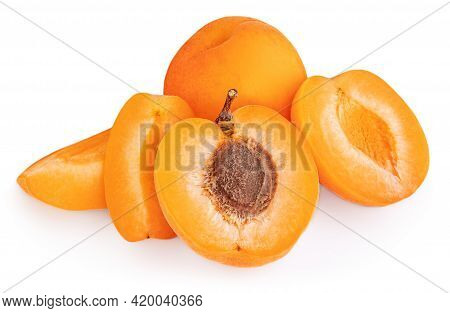 Isolated Apricots. Fresh Apricot  Fruits Isolated On White Background, Sliced And Whole, Closeup