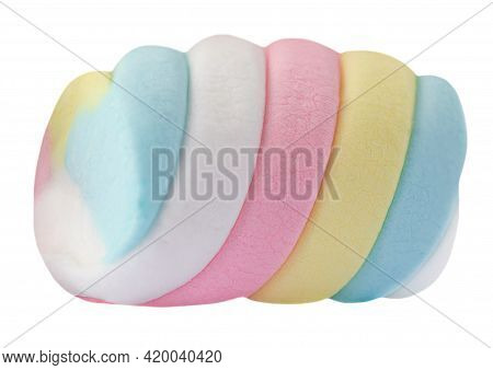 One Marshmallow Candy  White, Yellow And Pink Isolated On White Background. Huge, Big And Twisted Ma