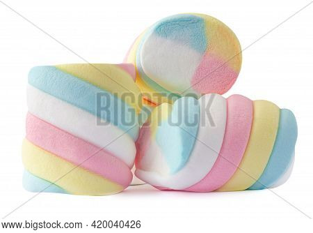 Fluffy Colorful Marshmallows Candy Isolated On White Background. Huge, Big And Twisted Marshmallow M