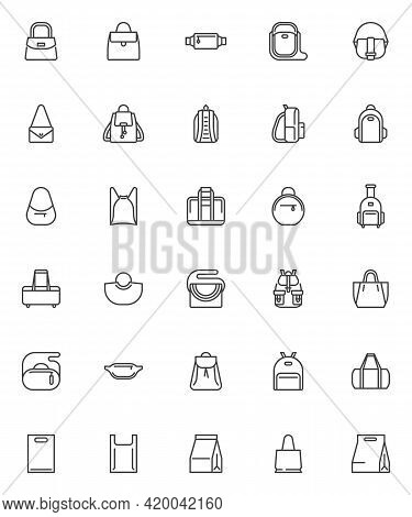 Bag And Backpack Line Icons Set. Linear Style Symbols Collection, Outline Signs Pack. Women Handbag