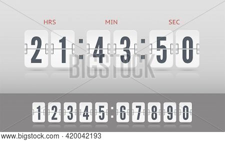 Vector Modern Ui Old Countdown Timer. White Scoreboard Number Font. Coming Soon Web Page Design With