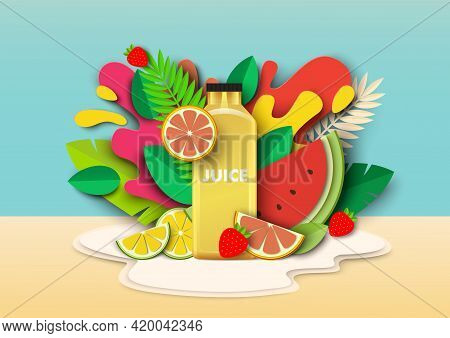 Multifruit Juice Drink Bottle, Fresh Fruits, Liquid Splashes, Drops. Vector Paper Cut Style Illustra