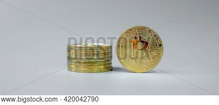 Golden Bitcoin Cryptocurrency Coin Stack, Crypto Is Digital Money Within The Blockchain Network, Is
