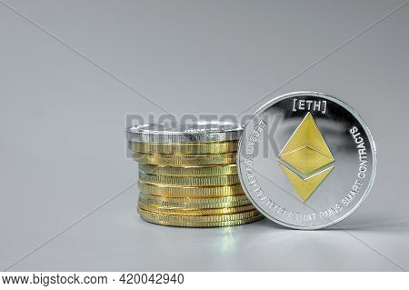 Silver Ethereum (eth) Cryptocurrency Coin Stack, Crypto Is Digital Money Within The Blockchain Netwo