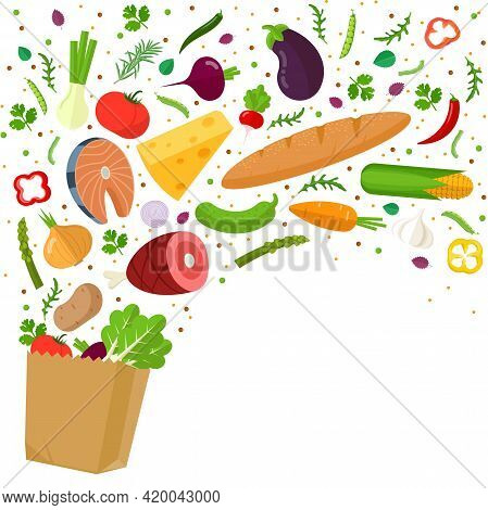Healthy Food Falling Down Into Grocery Paper Bag. Healthy Food In Paper Bag Fish, Meat, Cheese, Frui
