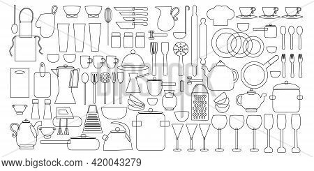 Doodle Set Of Utensils And Kitchen Utensils For Cooking In Strokes. Flat Vector Illustration Isolate