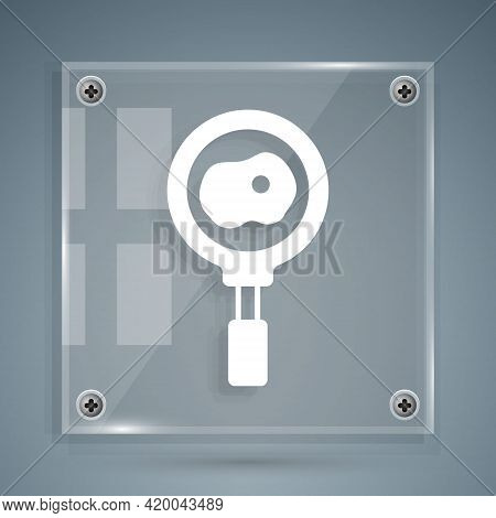 White Fried Eggs On Frying Pan Icon Isolated On Grey Background. Fry Or Roast Food Symbol. Square Gl