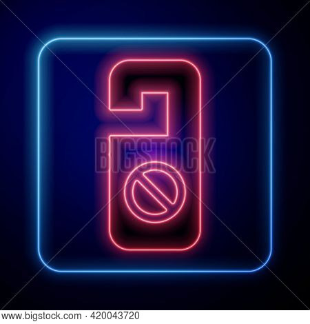 Glowing Neon Please Do Not Disturb Icon Isolated On Black Background. Hotel Door Hanger Tags. Vector