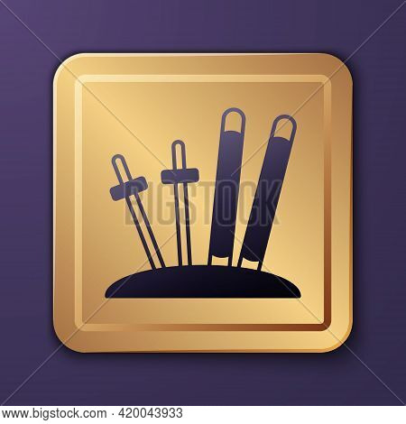 Purple Ski And Sticks Icon Isolated On Purple Background. Extreme Sport. Skiing Equipment. Winter Sp