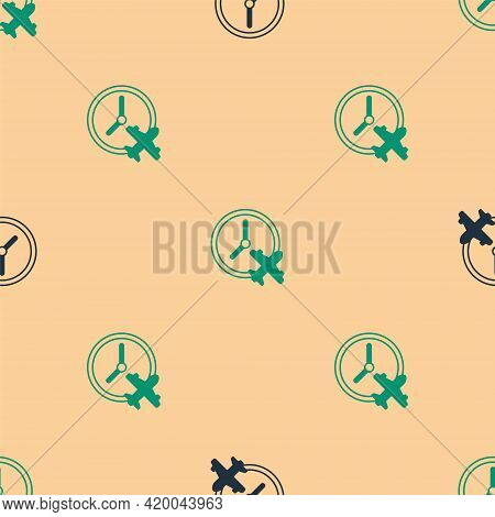 Green And Black Clock With Airplane Icon Isolated Seamless Pattern On Beige Background. Designation