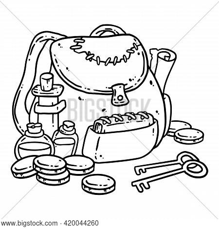 Adventurer Pack Black Outline Image. Fantasy Character Pouch With Magical Items. Treasure Bag Comic