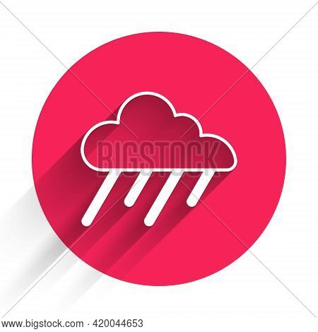 White Cloud With Rain Icon Isolated With Long Shadow. Rain Cloud Precipitation With Rain Drops. Red