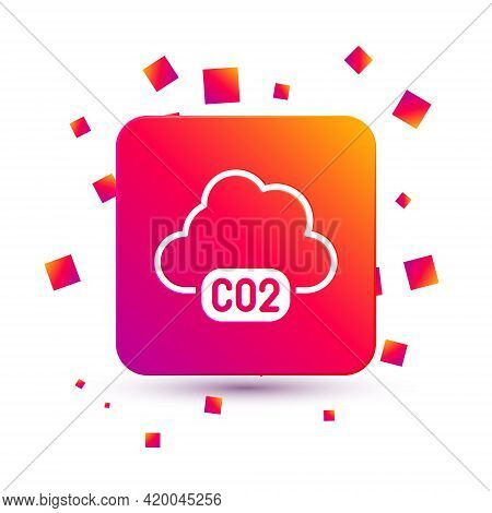 White Co2 Emissions In Cloud Icon Isolated On White Background. Carbon Dioxide Formula, Smog Polluti