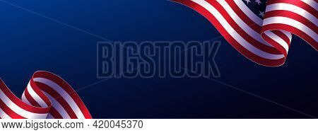 Festive Blue Illustration With Abstract Usa Flag Element, Design Component, Independence Day.