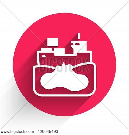White Wrecked Oil Tanker Ship Icon Isolated With Long Shadow. Oil Spill Accident. Crash Tanker. Poll