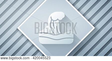 Paper Cut Tsunami Icon Isolated On Grey Background. Flood Disaster. Stormy Weather By Seaside, Ocean