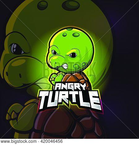 Angry Turtle Mascot Esport Logo Design Of Illustration